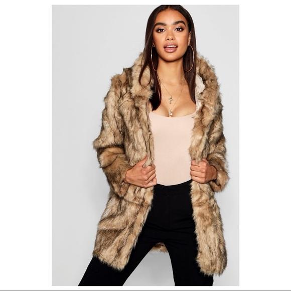 731ed467c1934 Boohoo Jackets & Coats | Faux Fur Hooded Jacket In Taupe Tan | Poshmark
